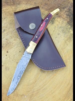 Laguiole preklopni nož z damaščanskim rezilom + usnjeni etui