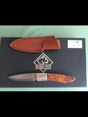 Puma fiksni nož z damaščanskim rezilom + usnjeni etui